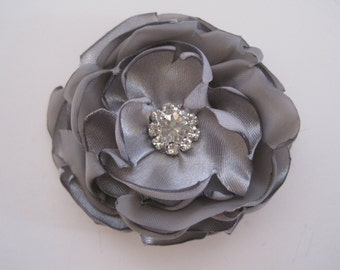 Petite Grey  Satin  Bridal Wedding Flower Hair Clip Bride, Mother of the Bride, Bridesmaids Proms  with Rhinestone Accent