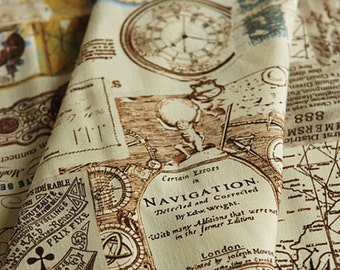 Cotton Linen Fabric Cloth -DIY Cloth Art Manual Cloth-Nautical Map 55x18Inches