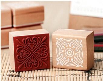 Korea DIY Wooden Rubber Stamp-Pattern 6 Kinds Can Be Chosen 1 Pcs