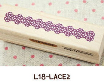 1 Pcs Korea DIY Wood Rubber Stamp-Lace Stamps L18
