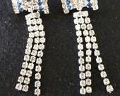 1970s earrings white rhinestones blue stones hanging earrings rocker earrings