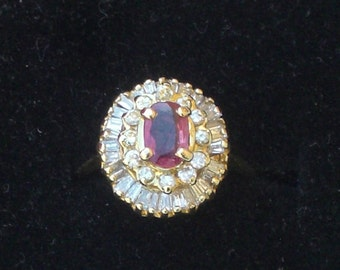 Ring - Ruby and Diamond Ring - 14K Gold - July Birthday Gift - Vintage