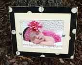 Distressed 5x7 Frame, Polka Dot Picture Frame, Black Frame, Wedding Gift
