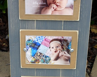 Triple 4x6 Frame, Grey Frame, Collage Frame, Distressed Picture Frame, Pick your Mat Color