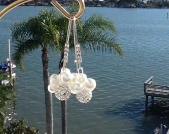 Pearl and Rhinestone, Bridesmaid Earrings, Wedding Jewelry, Bridal Earrings