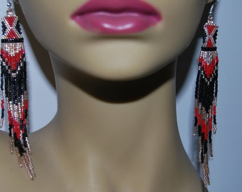 gold black red Boho Native Rug pattern delica seed beaded 5 inch hand beaded earrings