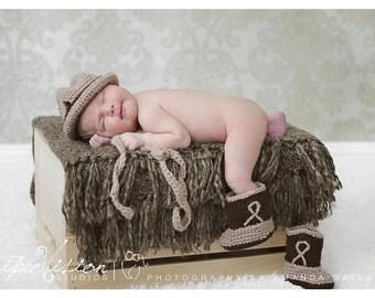Cowboy Hat Boots and Lasso Crochet  Newborn Photo Prop Set