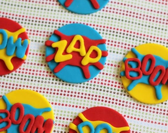 Superhero Fondant Cupcake Toppers - Perfect for Cupcakes, Cookies and Other Edibles