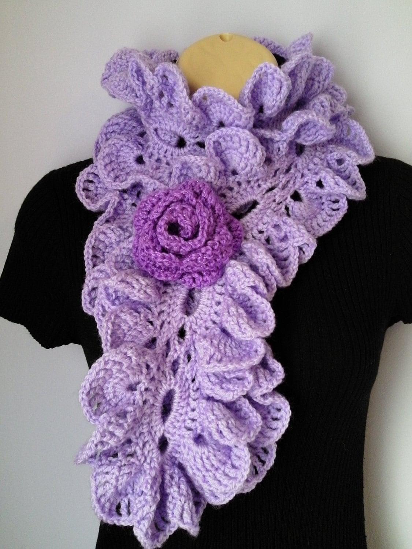 Crochet Ruffle Flower Pattern : Crochet Scarf Neckwarmer Flower Brooch Ruffle accessories
