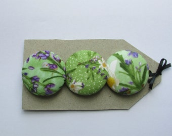OOAK big buttons.  3 1 1/2 in fabric covered buttons in quilting cotton, green yellow and lavender