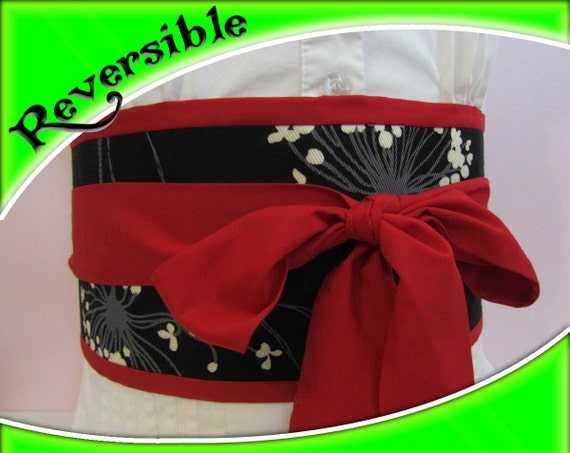 Reserved - custom listing for K.C - Japanese Obi Belt - Figure slimmer - Waist cincher - Reversible red - black obi belt