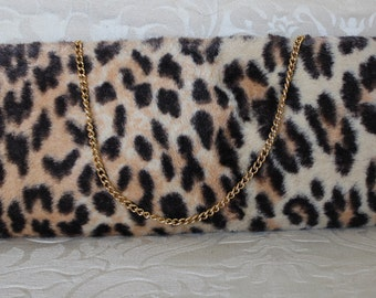 1950's Midcentury Long Sleek Classic Hollywood Faux Leopard Fur Cocktail Evening Bag