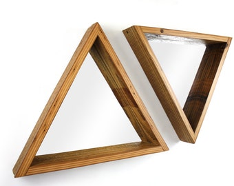 Triangle Framed Mirror- Reclaimed Wood Frame- Modern Home Decor- Hanging Wood Shelf- Decorative Geometry- Urban Wall Decor-  FREE SHIPPING