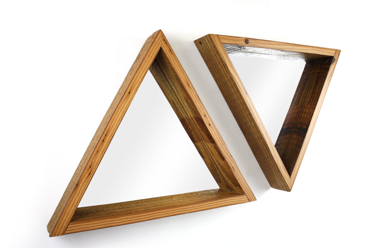 Triangle Framed Mirror Reclaimed Wood Frame Modern by weareMFEO