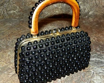 Handbag Black Beaded Italian Raffia Wood Handle with Label