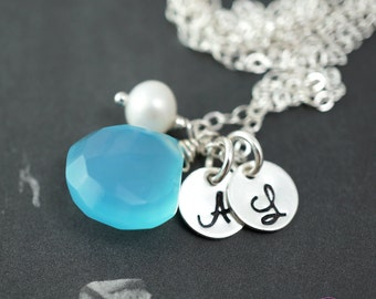 Custom necklace, Two letters, Mom necklace, Children initials, Blue gemstone, Husband wife, Personalized birthstone necklace