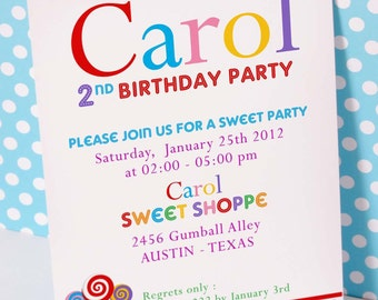DIY PRINTABLE Invitation Card - Candyland Sweet Shoppe Birthday Party - PS832CA1a1
