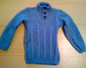 Hand Knitted Blue Country Style Double Knit Childs High Neck Jumper