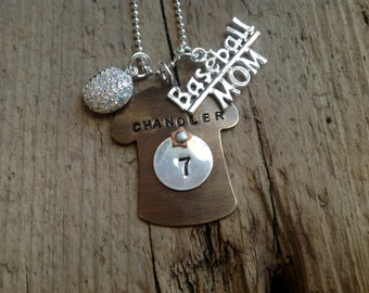 Baseball Mom Personalized Necklace Swarovski Crystal Baseball Girlfriend