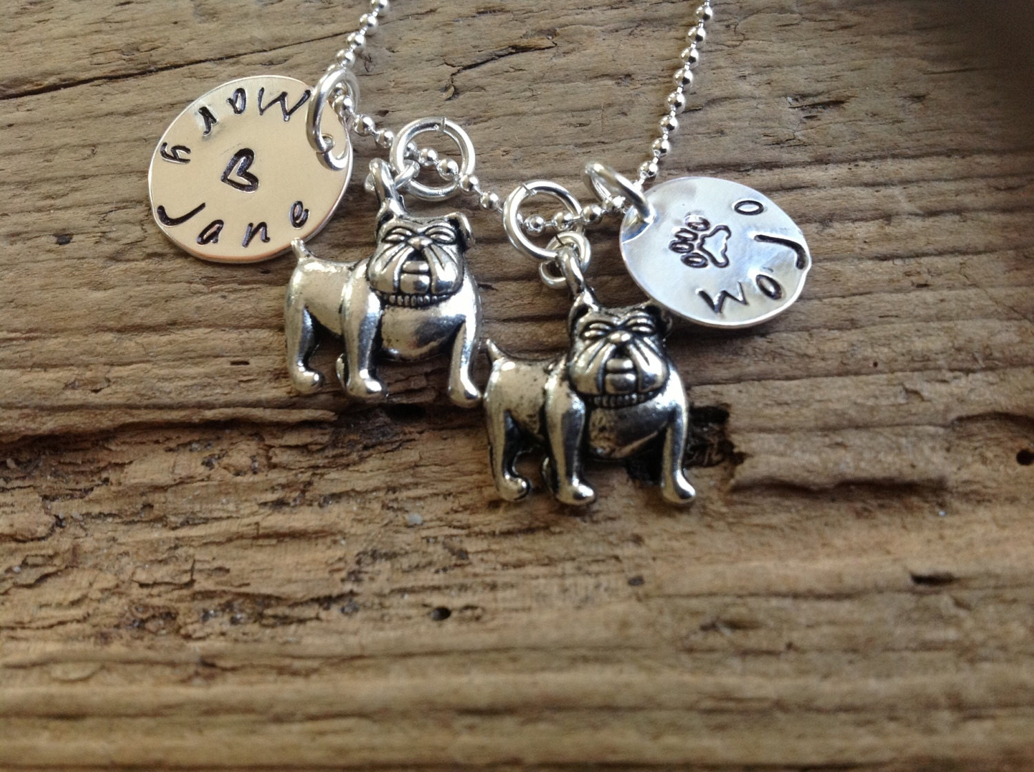 two adorabull bulldogs personalized necklace by