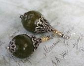 Gemstone earrings -RIVER STONES- Serpentine beaded earrings with ornate bead caps