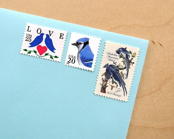 Blue Love Birds - Vintage unused postage stamps to post 5 letters - or use in scrapbooking and crafts