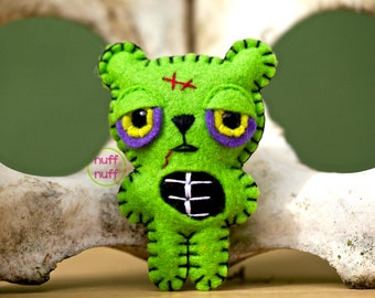 Felt Zombie Bear - Pocket Plush Toy