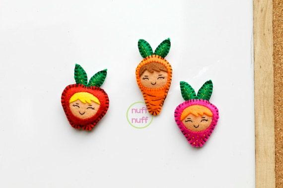 Set De Baño En Pano Lenci:Set de Imanes de Fieltro Frutas y Verduras por nuffnufftoys