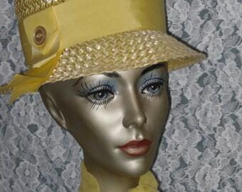 Yellow Raffia Straw Bucket Church Hat and Scarf Vintage 50's