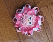Embroidered Felt Owl Hairbow