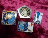 Set of 4 pin badges cosmos space theme. Mars 2, mars 3, molnija, cosmos 5 satellite. Soviet space program Made in the USSR.