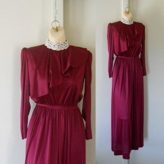 Victorian Dress Maroon Dress Burgundy Dress Bohemian Dress 70s Maxi Dress Long Maxi Dress 70s Dress Polyester Dress Bridesmaid Dress Ruffle