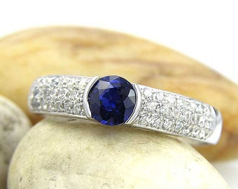 14K Recycled White Gold 1ct Blue sapphire & White Topaz Engagement Ring