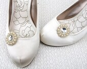 Shoe Clips, Beaded Swarovski Crystal & Cream Pearls with Silver Beads, Bridal, Wedding, Bridesmaid Shoe Clips