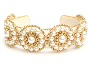 Beaded Bangle, Bracelet, Swarovski, Cream Pearls, Gold Beads, Statement Bracelet, Wedding Bracelet, Cream & Gold Bracelet