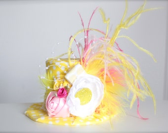 Pink Lemonade Vintage Inspired Birthday - Mini Top Hat Headband (or fascinator) - Perfect BIrthday or Lemonade Stand Photo Prop