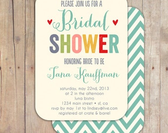 Whimsical Bridal Shower Invitation Baby Shower Invite Printable OR Printed Card