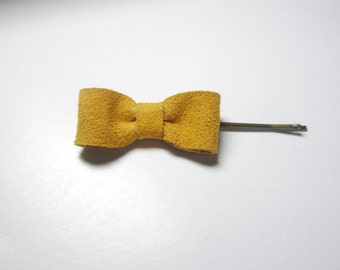 Mustard bow Hair Pins-Bow  Bobby Pins-   Leather hair  accessories