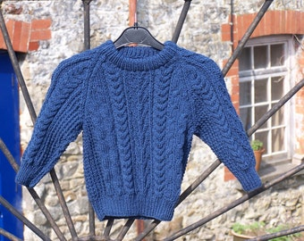 HAND KNITTED Traditional Aran Jumper - French Navy Aran Jumper. (Ready to Ship)