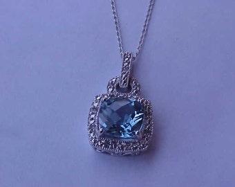 Antique Art Deco 10K WG Pendant:Blue Topaz & Diamonds,1930s