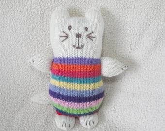 Knit Kitty in Striped Sweater, Kitten Cat Softie Doll, Plush Stuffed Toy, Girls & Boys