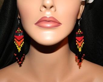 "Native American Beautiful ""Kachina"" Dangle Beaded Earrings"