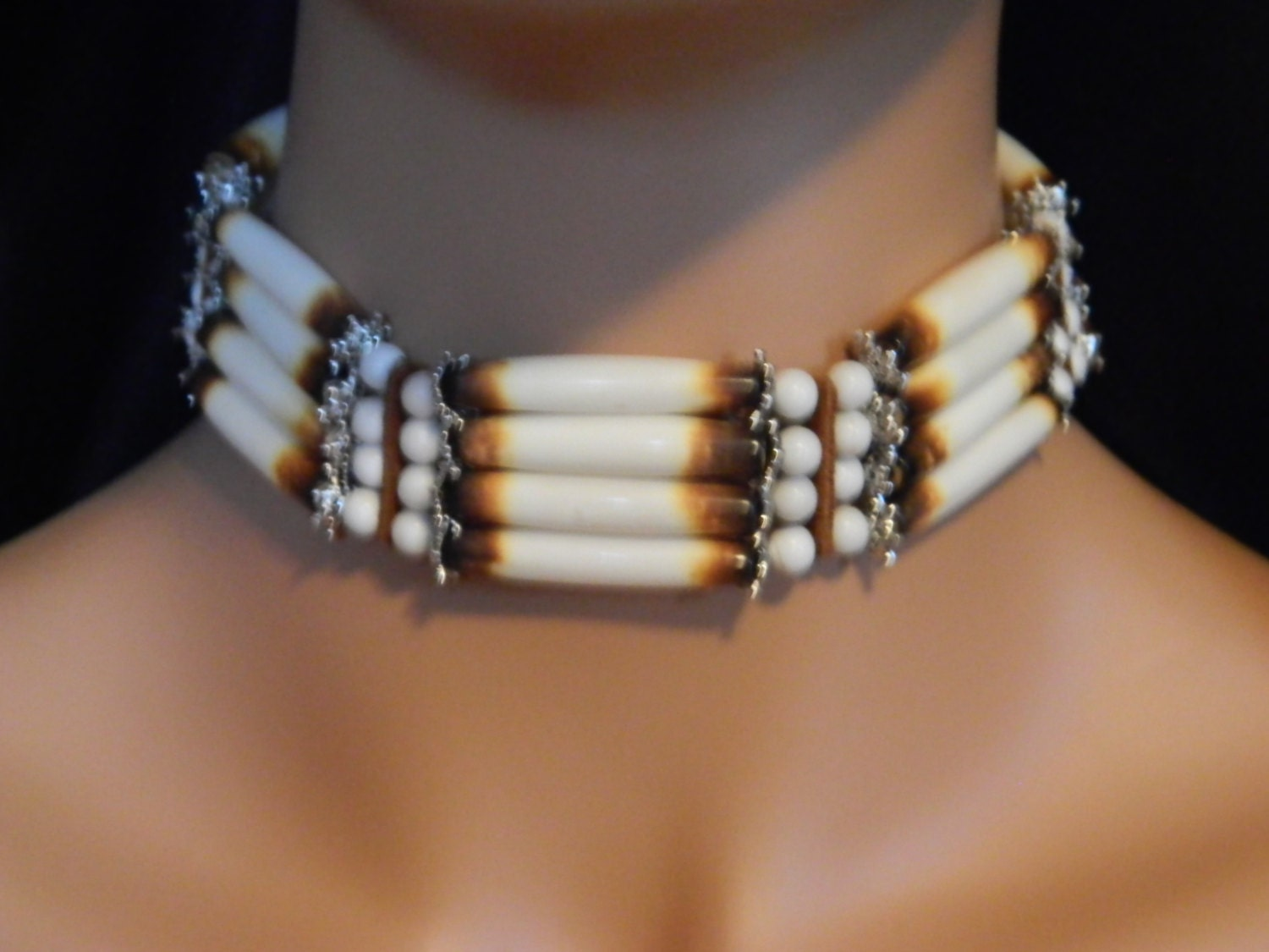 Beautiful Native American Handcrafted Bone Choker with Leather