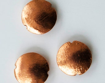 Solid Brushed Copper Disk ~ 4 Large 20mm Beads