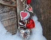 Blooming Hearts,Beaded keychain, purse charm.