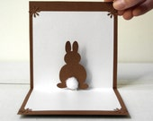 Pop Up 3D Bunny Card - Original Handmade Unique Special Cute Sweet Greeting Card