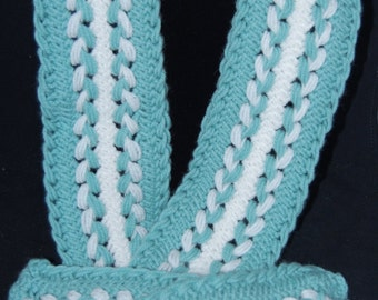 Mint & White Hairpin Lace Scarf