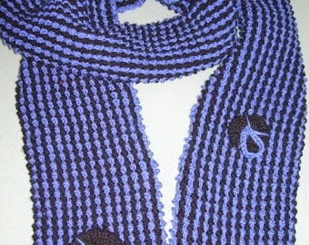 Hand Knitted Merino mix scarf-soft lightweight & warm Azure Blue and Black..