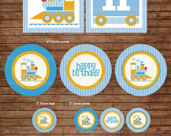 Choo Choo Train Birthday Party DIY Printable Party pack - match with Thomas the train - baby blue and yellow