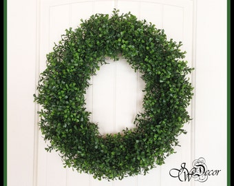 Boxwood Wreath - Round Grapevine - Wreaths - Spring Wreath - Front Door Wreath - Artificial Boxwood Wreath